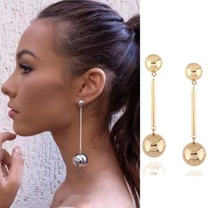 Double ball Gold tone dangle earrings